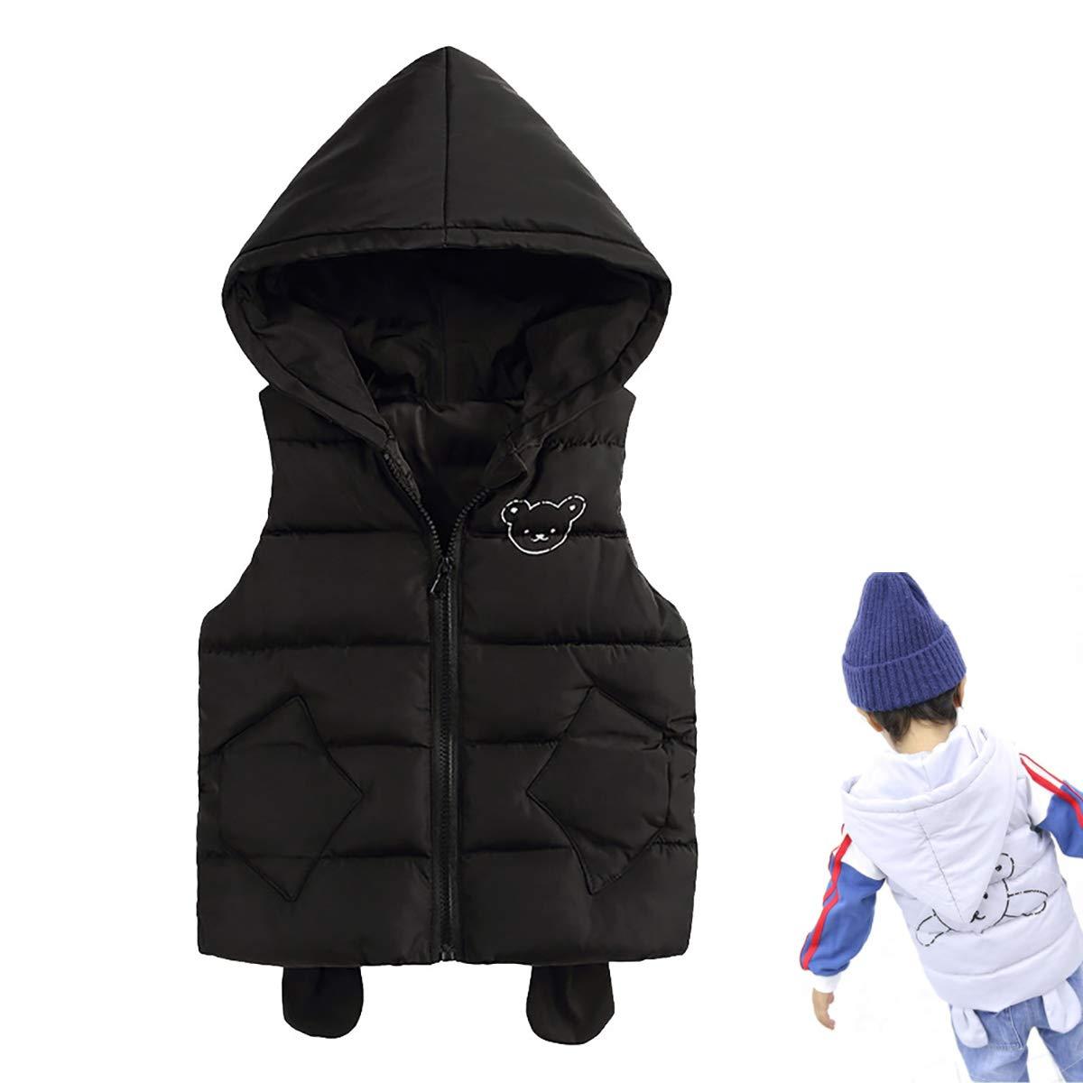 Baby Toddler Boy Girl Waistcoat Fall Winter Windproof Warm Jacket Coat 5-9 Y, Kid Cartoon Hooded Sleeveless Vest,Black,90cm by FASH