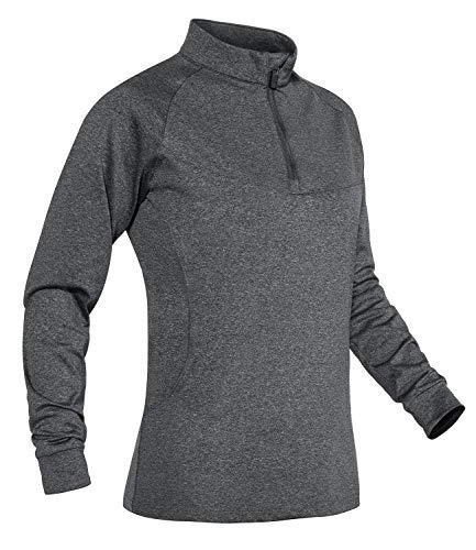 TACVASEN Womens Shirt Casual Sweatshirts Lange Mouw Tops Slim Fit Outdoor T-Shirts met 1/4 Zip Kraag