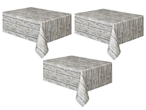 Unique Industries Rustic Wood Plastic Tablecloth, 108