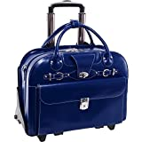 """McKlein USA Roseville Navy 15.6"""" Leather Fly, Friendly Detachable, Wheeled Ladies' Briefcase (96647)"""