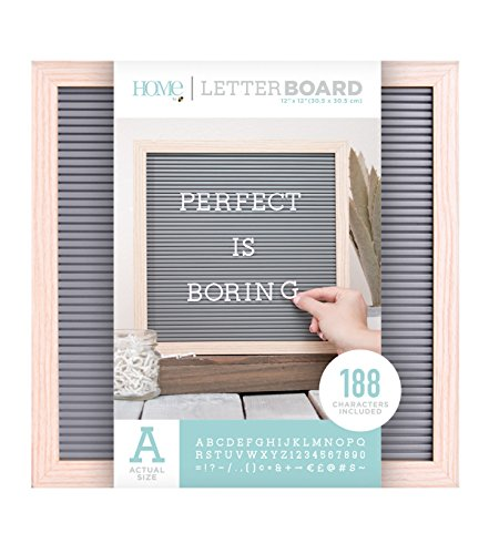 American Crafts 12 x 12 Inch Natural Frame with Gray Die Cuts with a View Letterboards, 12 x 12 from American Crafts