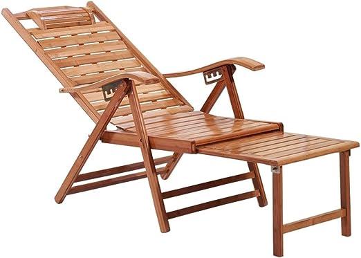 Tumbonas HAIYU- Silla Reclinable de Bambú Alargado Multiposición Ajustable con Reposapiés Extendido, Plegable de Madera para Balcón, Jardín, Terraza: Amazon.es: Hogar