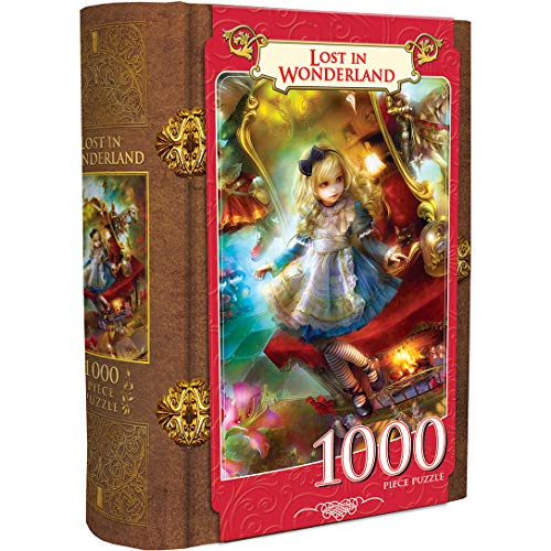 MasterPieces Book Boxes Fairytale Jigsaw Puzzle, Lost in Wonderland, Alice, Collectible Box with a Magnetic Closure, 1000 Pieces