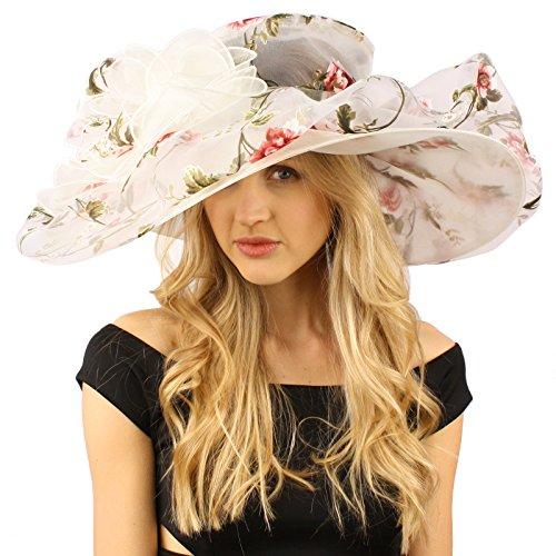 """Innocent Victorian Flower Print Overlay Kentucky Derby Floppy Brim 8"""" Hat Ivory"""