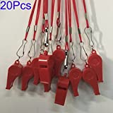 Kaqkiasiog 20 Pcs Red Plastic Loud Whistles With Lanyard for Referee Coaches Basketball Football Sports Training Game Event Lifeguard Survival Emergency Fun School Kids Tool Set Suppliers