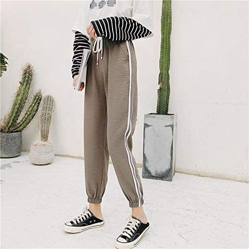 FAIYIWO Spring and Summer Linen Pants Women Students Bf Wind Loose Tide Uniforms Sports Pants FAIYIWO Army Green Size L