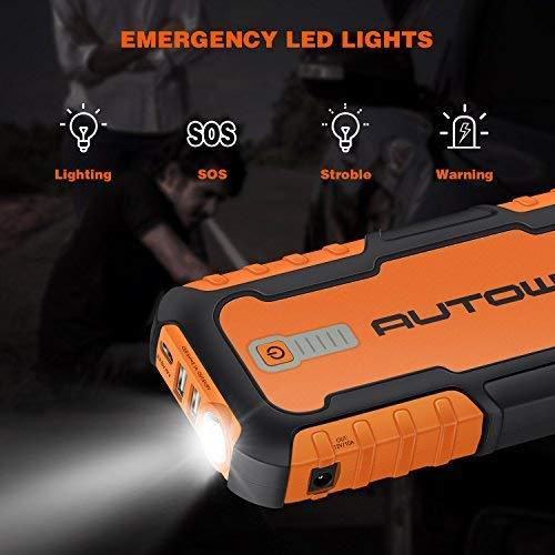 Avviatore di Emergenza 21000mAh 1000A AUTOWN Avviatore Auto Portatile per Tutti i Veiocoli 12V Jump Starter con Torcia Elettrica a LED e Doppie Porte USB per Cellulare e Tablet