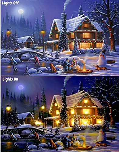 Large Christmas Canvas Led Wall Art Winter Painting 24x16 Inches Lighted Holiday Christmas Decorations Home Decor Prints Christmas Cottage Buy Online In China At Desertcart