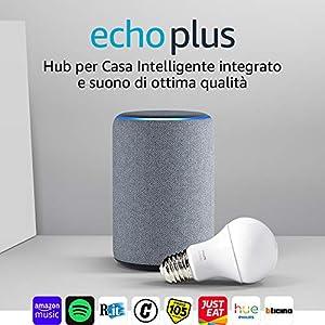 Echo Plus (2ª generazione) - Tessuto grigio mélange + Philips Hue White Lampadina