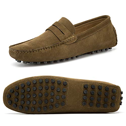 Go Tour Men's Classy Fashion Slip Penny Loafers Casual Suede Leather Moccasins Driving Shoes Flats Classic Boat Shoes US, Khaki 44