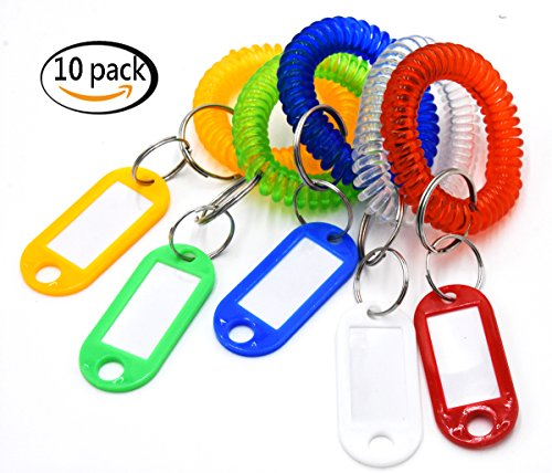 (JSSHI Pack of 10 Colorful Spring Spiral WristBand Coil Key Chain with Key Luggage Tag ID Labels for Gym, Pool, ID Badge, Office,Workshop, Shopping Mall)