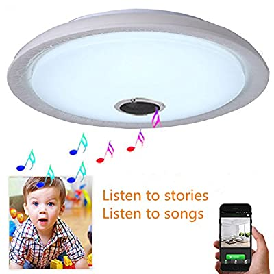 AFSEMOS LED Music Ceiling Light with Bluetooth Speaker 24W,Flush Mount Light with Cool White,16 Inch,1600LM, Equal 180W Incandescent,Home Party Light for Bedroom Living Room Dining Room