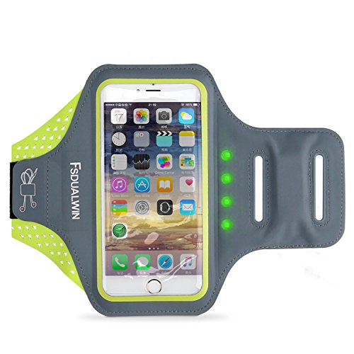 Ipod Nano Armband Reviews (FSDUALWIN iPhone 7 Plus Armband with Self-generating Safety LED, Sports Arm Band, Waterproof Fingerprint Touch Supported Arm Case with Card Slot for iPhone 6 / 6s / 7 Plus(5.5 inch) (Green))