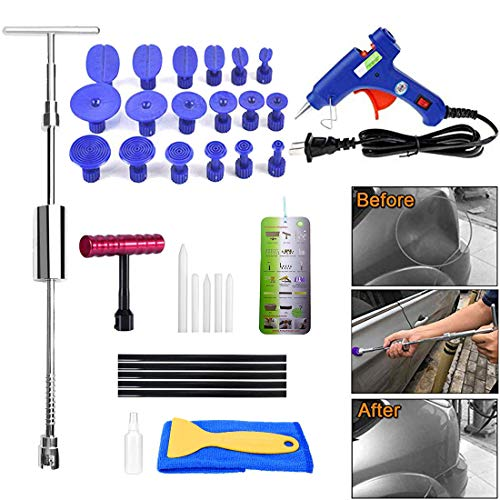 Paintless Dent Repair Puller Kit Dent Puller Slide Hammer T-Bar Tool with 18pcs Dent Removal Pulling Tabs for Car Auto Body Hail Damage