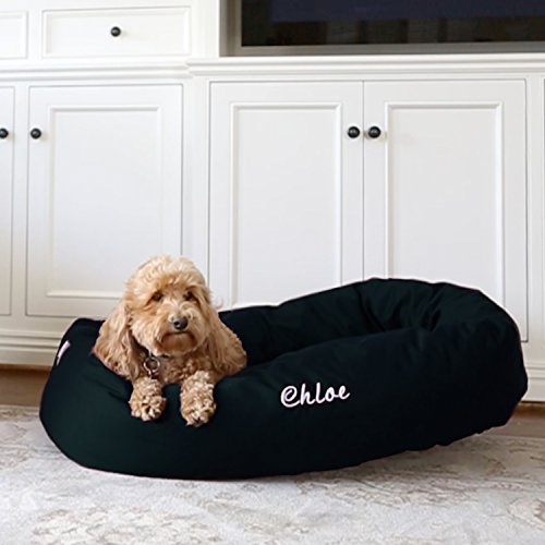 Majestic Pet Personalized Bagel Dog Bed - Machine Washable - Soft Comfortable Sleeping Mat - Durable Bedding Supportive Cushion Custom Embroidered - available replacement covers - Small Black -