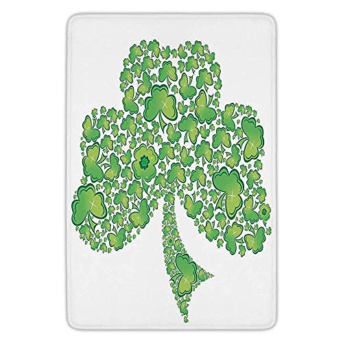 Patterns Trinity (K0k2t0 Bathroom Bath Rug Kitchen Floor Mat Carpet,Celtic,Irish Shamrock Figure Made Small Clover Patterns Holy Trinity Symbol Graphic,Green White,Flannel Microfiber Non-Slip Soft Absorbent)