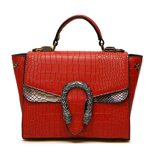 Leather Women Flap Messenger amp;Sue Snake Style Retro Wild Satchel Handle Bag Mn Handbag Pattern Red Alligator gvp0vnY