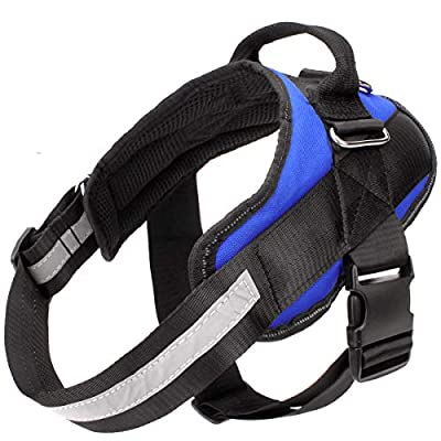Easy Walking Dog Harness, Easy On and Off Pet Vest Harness, 3M Reflective Breathable and Easy Adjust Pet Halters with Nylon Handle for Small Medium Large Dogs - No More Pulling, Tugging or Choking