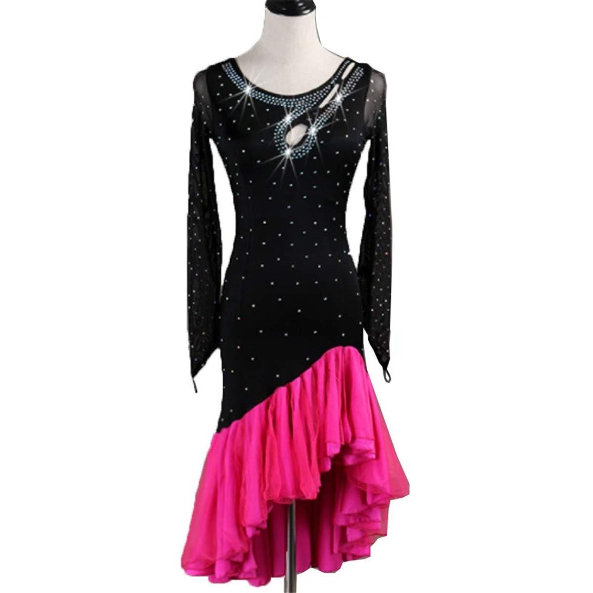 Pink L H&Q Women's Long Sleeve Samba Latin Dance Dress Performance Costume, Adult Latin Rumba Ballroom Dress with Rhinestones