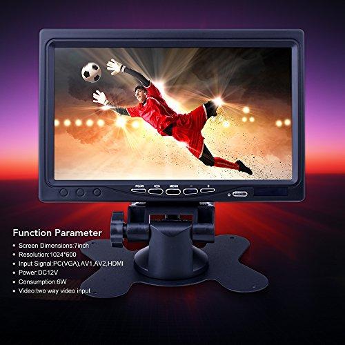 kuman 7 Display Screen Monitor Pi 3 RPi 1 with HDMI VGA Input, DVD Car Remote