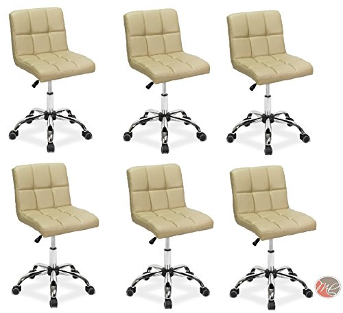 Madison & Park SET OF 6 Easy Glide Office Chair TTO CREAM Desk Chair Task, Home, or Office Chair Office Furniture - Madison Office Furniture