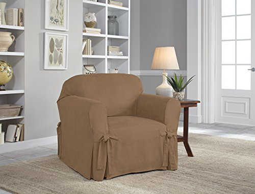 Serta Relaxed Fit Smooth Suede Furniture Slipcover for Chair, Taupe (Polyester Chair Suede)