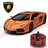 Lamborghini Aventador Official Licensed Remote Control Car for Kids with Working Lights, Radio Controlled On Road RC Car 1:24 Model, 2.4Ghz Orange, Great Toys for Boys and Girls