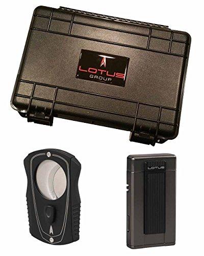 Ambassador Colussus 80 Ring Gauge Cutter Gift Set Gunmetal Lighter 5 Count Travel Humidor in an Attractive Gift Box Warranty (Ambassador Metal)