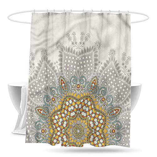 (paladen Polyester Shower Curtain Antique Floral Circle Kaleidoscope Bathroom Decoration W59×L70)