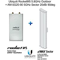 Ubiquiti RocketM5 Rocket M5 5.8GHz Outdoor + AM-5G20-90 5GHz Sector 20dBi 90deg
