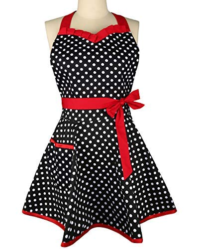 Zeronal Aprons Woman Girl Lovely Sweetheart Flirty Black Retro Cotton Polka Dot Kitchen Cooking Salon Pinafore Vintage Apron Dress