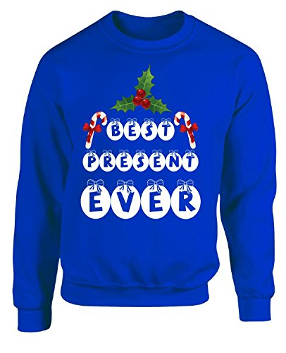 Best Present Ever Christmas - Adult Sweatshirt 5xl Royal (The Best Christmas Jumper Ever)