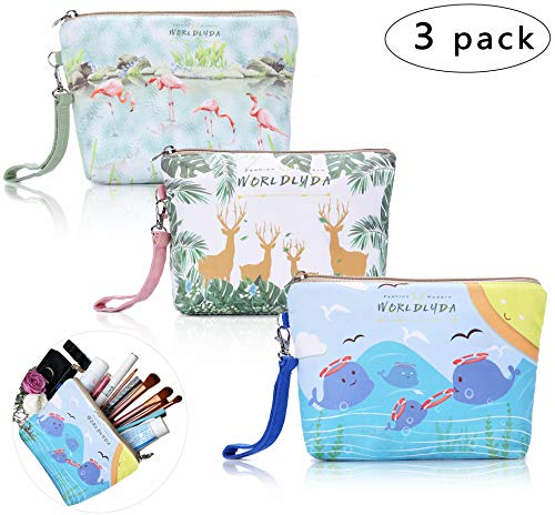 WORLDLYDA Ladies Women Canvas Travel Makeup Bag Portable Cosmetic Pouch Clutch Organizer Toiletry Handbag Phone Cash Coin Purse (Set of 3, Flamingo Reindeer Dolphin)