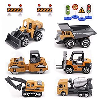 Alloy Construction Engineering Vehicle Toys Set 12 Pack Stacker,Big Forklift,Heavy Duty Roller,Excavator,Heavy Transport Vehicle,Engineering Mixer Set for Kids Boys