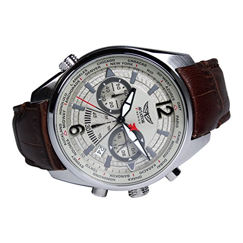 b62d5c97a Aviators Watch by Aviator F-Series – Aviators Brown Strap Beige Dial and Luminous  Indices ...