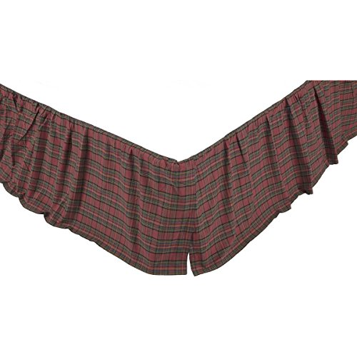VHC Brands Primitive Rustic & Lodge Tartan Plaid Red Bed Skirt, Queen ()