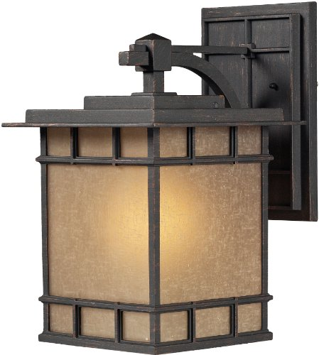 Elk 45012/1 11 by 17-Inch Newlton 1-Light Outdoor Wall Sconce with Linen Glass Shade, Weathered Charcoal Finish ()