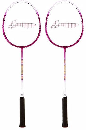 Li Ning Smash XP 708 Strung Badminton Racquet  Set of 2  Pink/White Racquets