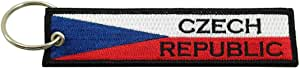 Czech Republic Flag Key Chain, 100% Embroidered