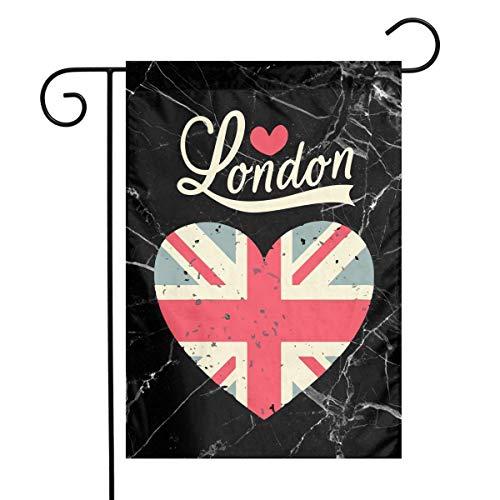 DJIEZI Vintage London Love Flag Heart Garden Flag Weather Resistant Family Flag - Only One Side - 12