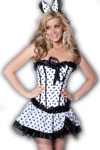 QT Girl Women's Polka Dot corset and skirt Set White M