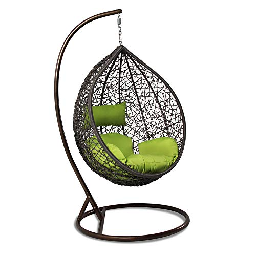 (Island Gale Hanging Basket Chair Outdoor Patio Furniture with Stand and Cushion (Brown Wicker, Lime)