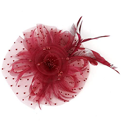 (Xflyee Fascinators Hat Flower Mesh Ribbons Feathers Tea Party Cocktail Headband for Girls and Women (Burgundy / 7 Inch Diameter))