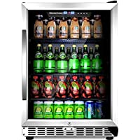 "Sinoartizan ST-54BC 154 Can Compressor Beverage Cooler 24"" Single Zone Built-in and Freestanding Fridge with Energy Saving LOW-E Triple-Layered Tempered Glass Door"