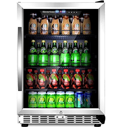 - Sinoartizan Compressor Beverage Cooler 24 inch Single Zone Built-in and Freestanding Fridge 154 Can beverage fridge refrigerator With Stainless Steel Energy Saving Triple-Layered Tempered Glass Door