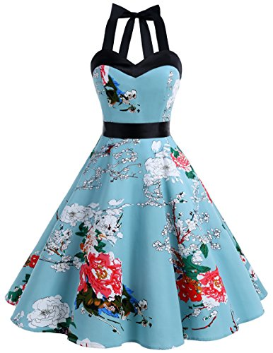 Dresstells® Halter 50s Rockabilly Polka Dots Audrey Dress Retro Cocktail Dress Floral