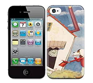 Best Power(Tm) HD Colorful Painted Watercolor A Cute Antique Illustration By Takeo Takei Of A Dog And A Bunny Rabbit In A House X Hard Phone Case For Iphone 4/4S