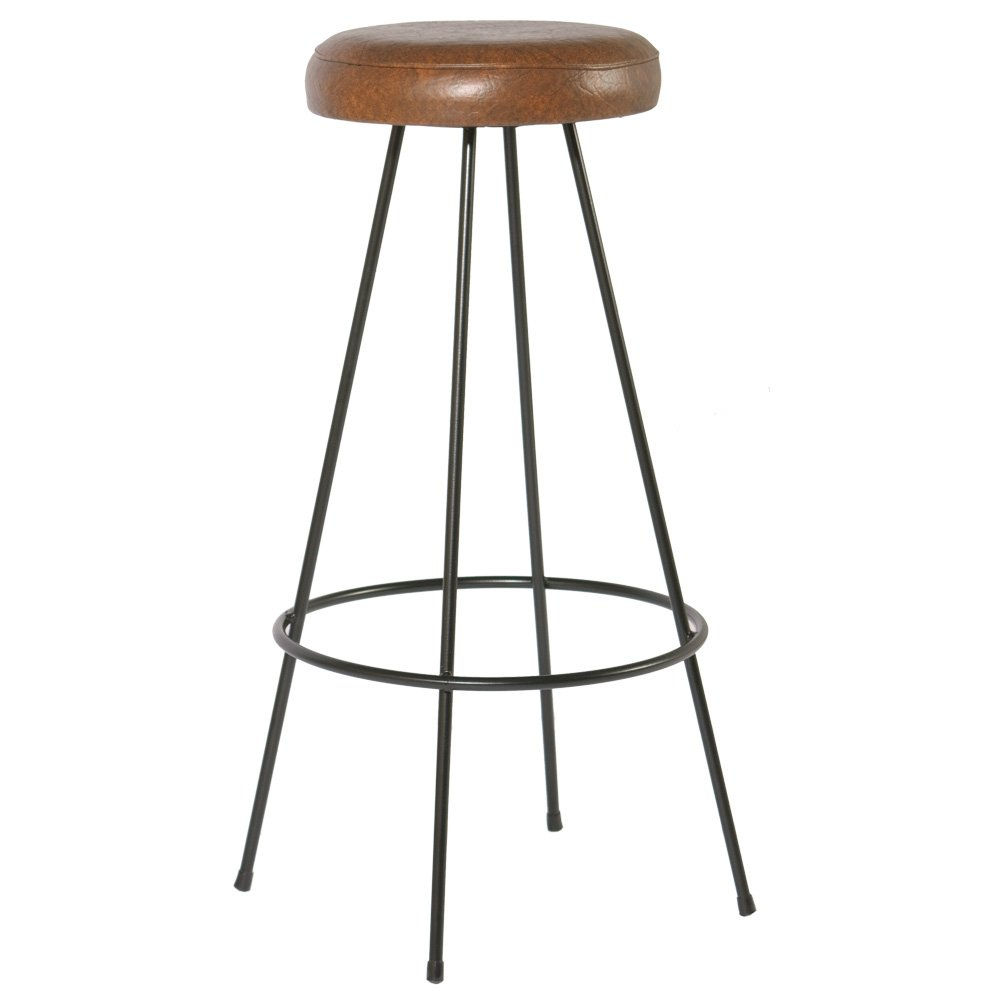 Indhouse–Sgabello Loft stile industriale su barra Massiccio con seduta Lamar
