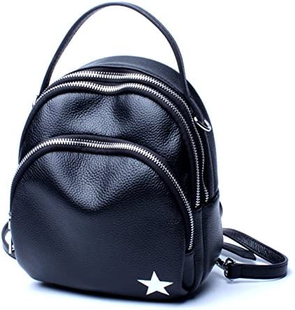 TongLing Womens Backpack Leather Student Travel Bag Backpack Fashion Leather Bag Trend Color : Black, Size : M