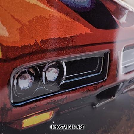 Route 66 Red Car Nostalgic-Art Plaque en Metal 30 x 40 cm